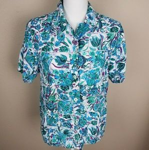 Nordstrom Point of View Bright Spring Button Up XL